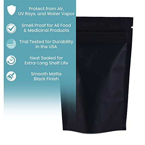 100 Count Double-Sided Mylar Stand-Up Bags - Matte Mylar Black Bags - Trial Tested in America for Quality (10x15cm (4x6
