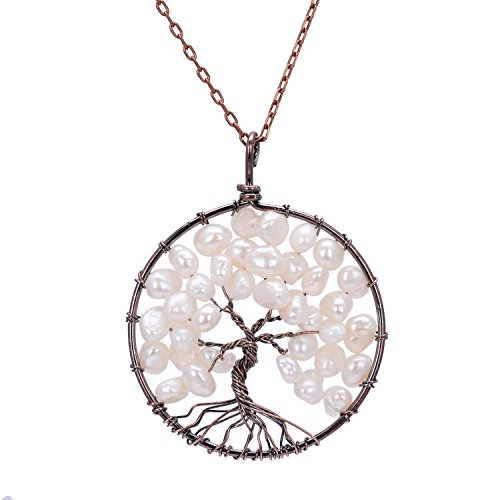 QILMILY Tree of Life Pendant White Freshwate Pearl Necklace Handmade Wire Wrapped Birthstone Necklace