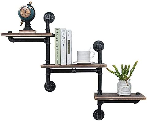 Industrial Pipe Shelving Wall Mounted,Steampunk Real Reclaimed Wood Book Shelves,Rustic Metal Floating Shelves,Wall Shelf Unit Bookshelf Hanging Wall Shelves,Farmhouse Kitchen Bar Shelving 3 Tier