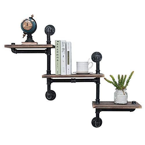Industrial Pipe Shelving Wall Mounted,Steampunk Real Reclaimed Wood Book Shelves,Rustic Metal Floating Shelves,Wall… 1