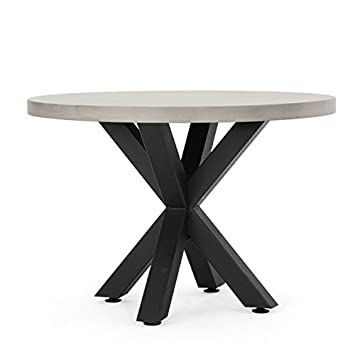 teague outdoor round concrete dining table by christopher knight home