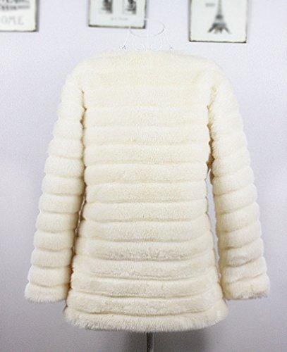 d'hiver Blanc Longue Fausse en YiLianDa Manteau Veste Chaude Fourrure Parka Outwear FO5qUw