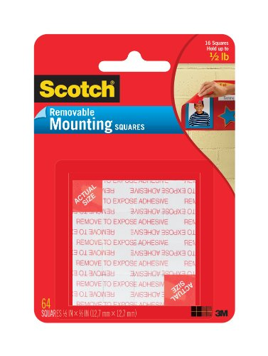 Scotch Mounting Squares, 1/2-inch x 1/2-inch, Black, 64-Squares (Removable Foam Mounting Squares)
