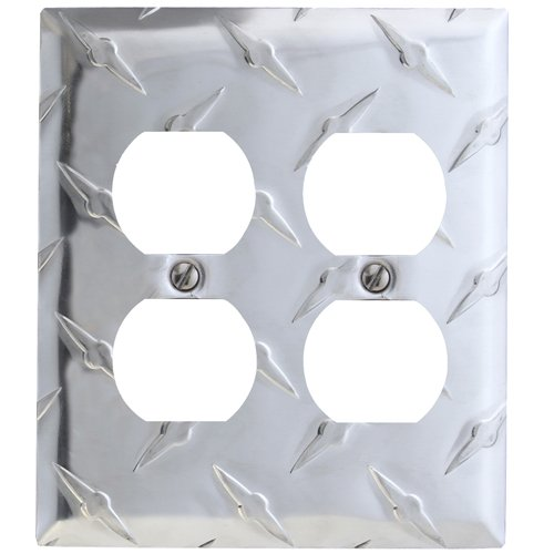 AmerTac 955DD Amerelle Garage Collection Diamond Plate Aluminum 2 Duplex Outlet Wallplate, Stamped Aluminum