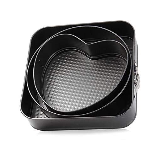3pcs Baking Pan, ONEVER Portable Baking Dish, Metal Cake Mold with Round Square Heart Shape, for Kitchen Baking Accessories