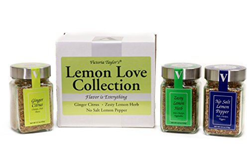 Lemon Love Collection - GINGER CITRUS, ZESTY LEMON, AND NO SALT LEMON PEPPER. For seasoning chicken, shrimp, fish, salads, and vegetables. VICTORIA TAYLOR's by VICTORIA GOURMET.