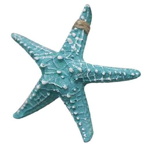 1 Pcs Hanging Resin Starfish Tropical Ocean Sea Themed Wall Hanging Ornament Sea Shell Starfish Craft Project Aquarium Fish Tank DIY Home Decor 6.3Inch, Green