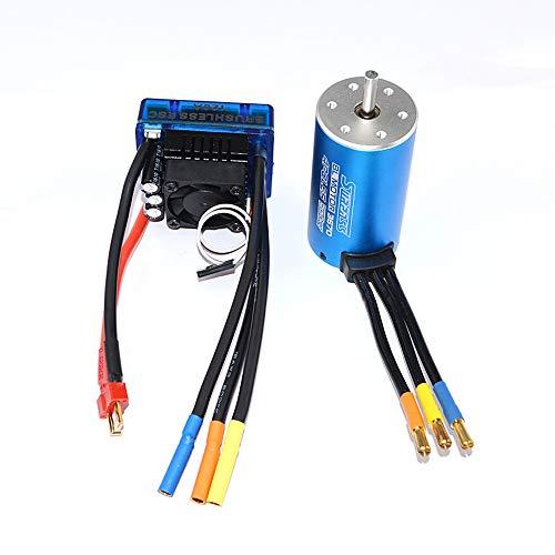 Brushless Motor Kit - 4 Pole 12 Slot High Torque Motor, Motor Classic BRUSHLESS SENSORLESS BL 3670 2150KV + 120A ESC Brushless Electric Speed Controller for All 1/10 Brushless Car (Blue)