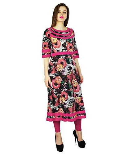 Phagun impreso floral Kurta indio del diseñador de las mujeres del algodón del vestido étnico Kurti
