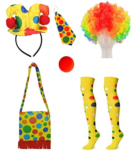 Clown Costume Hairband Hat + Shoulder Bag + Tie + Clown Nose + Rainbow Wig + Socks 6-Piece Set (XC-FAGU) -