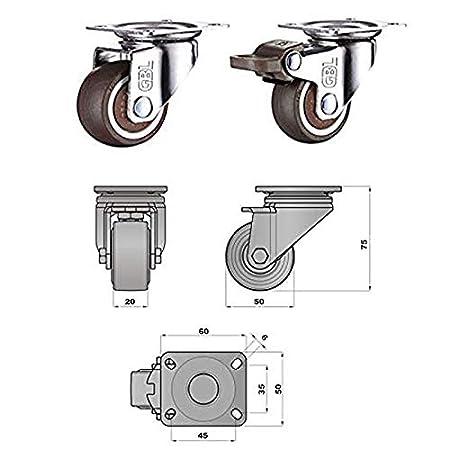 GBL - 4 Giratorias de Goma, 50mm 200KG Ruedas para Muebles, Rueda Pivotantes, Ruedas de Freno Industrial Con Placa de Montaje. (50mm): Amazon.es: Bricolaje ...