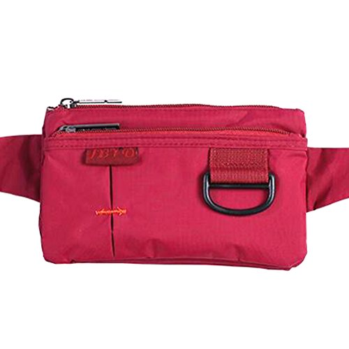 (Ulterslim Polyester Stealth Small Running Travel Waist Bag With D Clip Wine Red)
