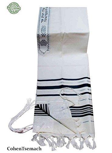"""100% Wool Tallit Prayer Shawl in Black and Silver Stripes Size 24"""" L X 72"""" W"""