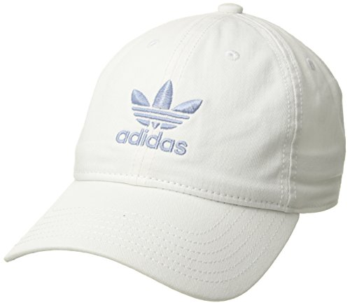 adidas Women's Originals Relaxed Fit Strapback, White/Chalk Blue, One Size - Adidas 3 Stripe Hat