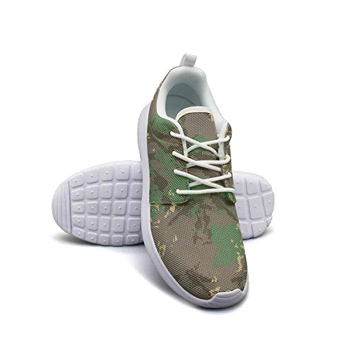 Classic Woodland Fashion Camouflage White Plimsolls Women for Women Slip Wear-Resistant Comfortable Walking Shoes ()