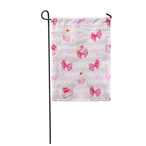 Semtomn Garden Flag 28x40 Inches Print On Two Side Polyester Pink Cute Romantic Fresh Pastries and Red Bows Pattern Rose Girly Strawberry SWE Home Yard Farm Fade Resistant Outdoor House Decor Flag -