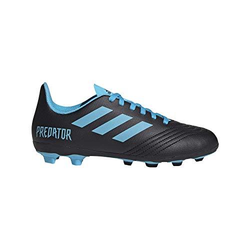 adidas Unisex-Kid's Predator 19.4 Firm Ground Soccer Shoe, Black/Bright Cyan/Solar Yellow, 5 M US Big Kid