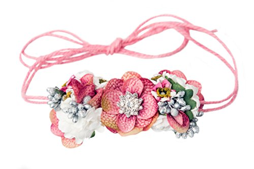 Mini Floral Headband Bohemian Style Formal Head Wear Garland One Size Fits All - Forest Fairy - 4 x 2 - Garland 2