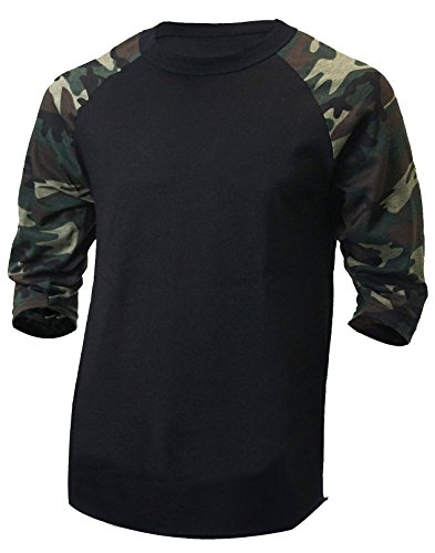 - Hat and Beyond Men's Baseball Raglan 3/4 Sleeves Casual T-Shirts Plain Cotton Jersey S-3xl (3X-Large, 1ks01_ Black/Camouflage)