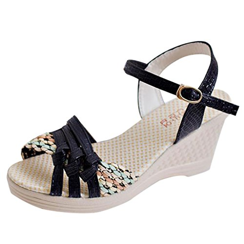 Binying Women's Fashion Buckle Peep Toe Wedge Sandals Black x2tA1jtd