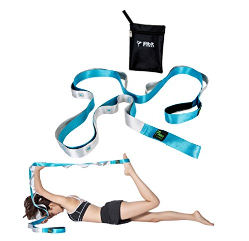 8 ft Long Stretching Strap for Physical Therapy, Yoga, Pilates, Ballet, after workout stretching (Blue)