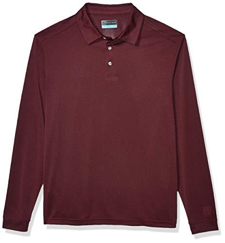 PGA TOUR Men's Long Sleeve Polo Shirt, Burgundy Wine Heather, M