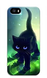 3D Hard Plastic Case for iPhone 5 5S 5G,Black Cat kitty Case Back Cover for iPhone 5 5S
