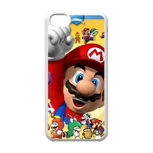 J2X52 Super Mario Bros R8K8NI cas d'coque iPhone de téléphone cellulaire 5c couvercle coque blanche SE8FNW1VH