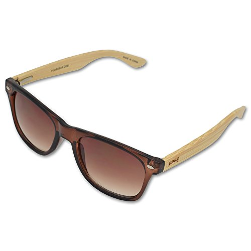 Gradient Brown Bronze - Pugs Bamboo Sunglasses - Durable Wood Frames, Unique Style Classic Vintage Look, 100% UV 400 UVA UVB Protection, Quality Spring Hinges for Men & Women, Brown, Light Temples, Gradient Bronze Lenses