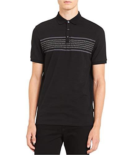 Calvin Klein Mens Striped Rugby Polo Shirt, Black, - Shirt Klein Calvin Striped Polo