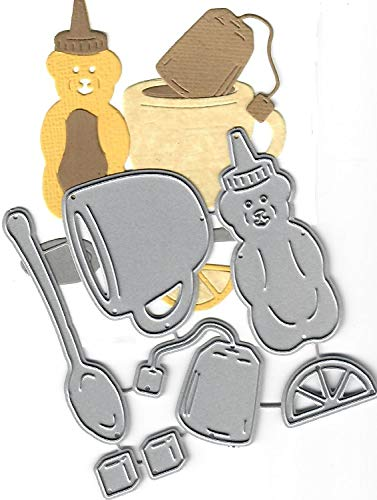 Dies to die for Metal Craft Cutting die - Tea Set - Honey Cup spook Lemon Tea Bag Sugar Cubes (Die Cube Cut)