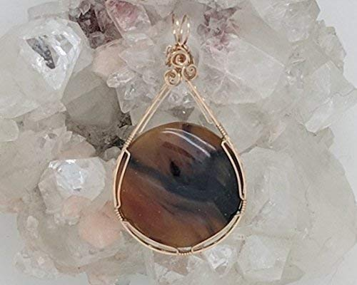 Brazilian Agate Pendant - Brazilian Agate Pendant (2-1/4 X 1-1/4 Inches) Wrapped With 14 Karat Gold Filled Wire (Natural Stone Pendant) (Brown & Black) (Wire Wrap)