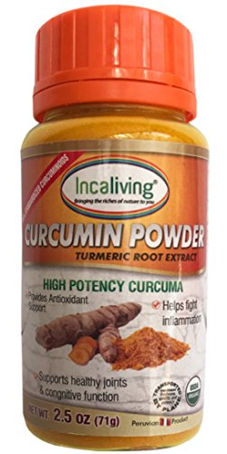 Peruvian Curcumin Powder by Incaliving (2.5oz) | 100% Organic Turmeric Root Extract with 99% Curcuminoids and Black Pepper Extract | Great for making Golden Milk!