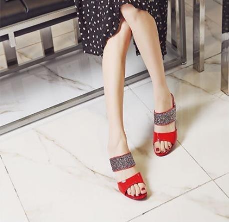 scarpe AJUNR alta Alla Da Donna Moda Scarpe di tacco pantofole rosso e Bold 39 Sandali 5cm xOw7pSnqx