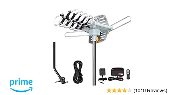 HDTV Antenna Digital Amplified Outdoor Antenna with Mounting Pole-150 Miles Range 360 Degree Rotation Wireless Remote Support 2 TVs.UHF/VHF 4K 1080P Channels