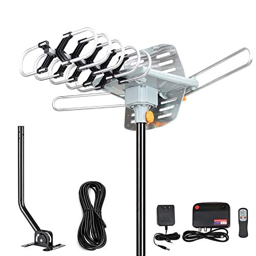 2019 Version HDTV Antenna Amplified Digital Outdoor Antenna -150 Miles Range-360 Degree Rotation Wireless Remote-Snap- Wireless Remote Control - UHF/VHF 4K 1080P Channels- On Installation Support 2 TV (Best Long Range Attic Tv Antenna)