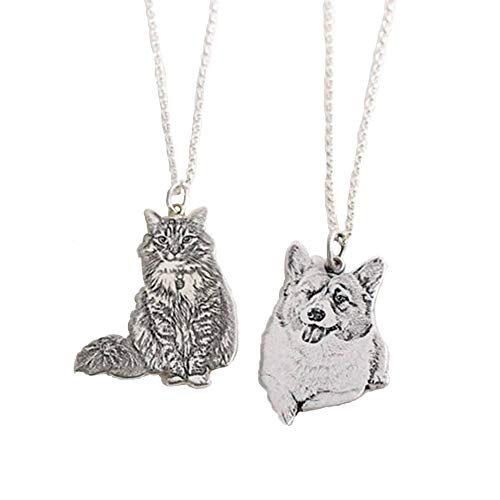 (STARATION Custom Picture Necklace Personalized Pet Cat Dog 925 Silver Photo Engraved Pendant Gift for Pet Lover)