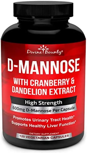 D-Mannose Capsules – 600mg D Mannose Powder per Capsule with Cranberry and Dandelion Extract for Natural Urinary Tract Infection and UTI Support – 120 Veggie Capsules