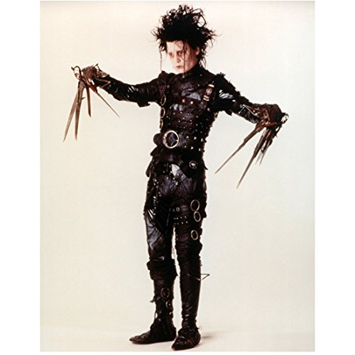 Johnny Depp 8x10 Photo Edward Scissorhands Leather & Metal Fasteners Arms Extended the Sides Full Body kn