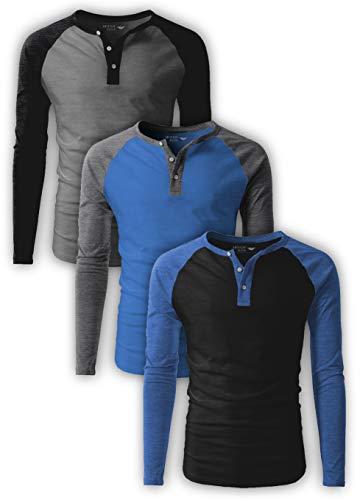 Men's Long-Sleeve Henley T-Shirt/Casual Vintage Raglan Henley Baseball Round Neck T-Shirt - 3 Pack (3 Pack-Denim/Charcoal/Black (A), Large)