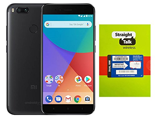 Straight Talk Phone A1 Unlocked Android One, 5.5 Inch Display, 4GB RAM + 64GB ROM, Dual Camera, Fingerprint Sensor, NET10, Metro PCS - Black
