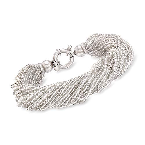 Ross-Simons Italian White Murano Glass Bead Torsade Bracelet With Sterling Silver