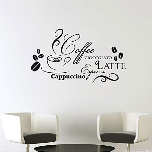 Letters Wall Stickers Home deocr Mural Decal Art Cuisine Decal Quotes Cioccolto Latte Coffee Cacppuccino in Italian for Dining Room Café