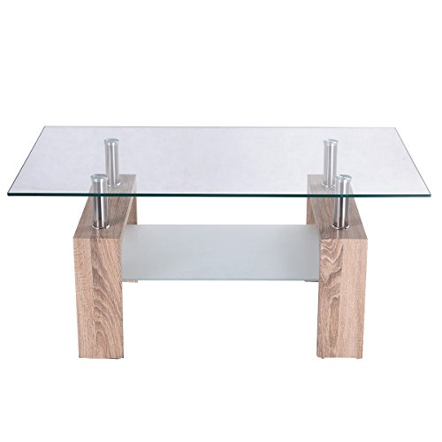 Amazon.com: Tangkula Rectangular Glass Coffee Table Shelf Wood Living Room  Home Furniture (Bright Wooden): Kitchen U0026 Dining
