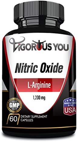 Vigorous You Premium L-Arginine Nitric Oxide Citrulline. 1,200 MG. Blood Flow, Muscle Growth, Strength, Endurance, Pre Workout.