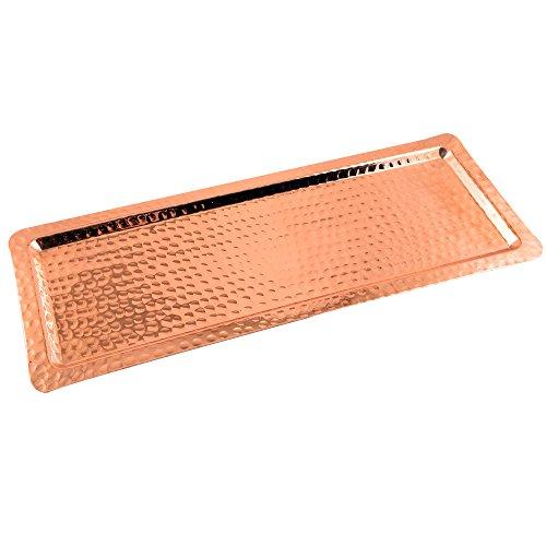 "Copperbull Hammered Copper Rectengular Tray,13""x5"""