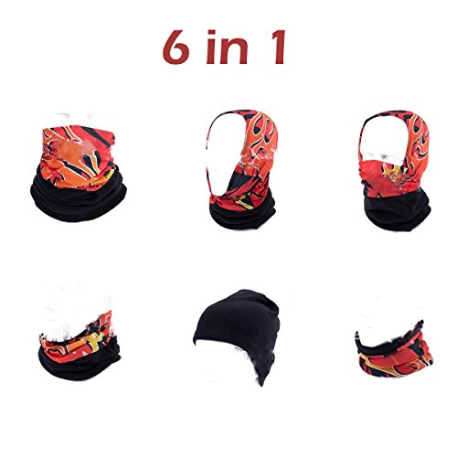 Triwonder Multi-use Unisex Fleece Neck Warmer Neck Gaiter Balaclava Mask Hood Scarf Headband Cap for Skiing Motorcycling Snowboarding (Black)