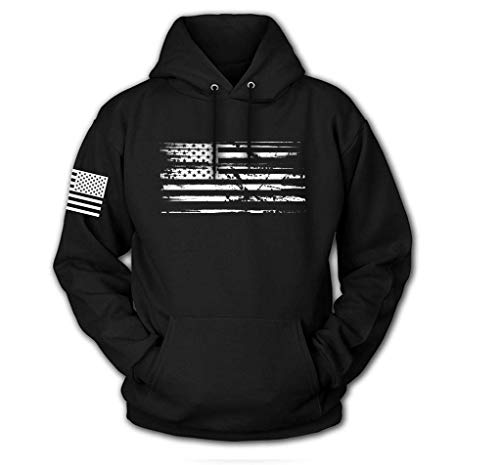 Tactical Pro Supply USA Sweatshirt Hoodie for Men or Women, American Flag Patriotic Jacket Sweater (White Flag, Large)