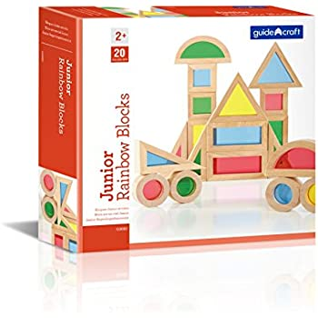 Guidecraft Jr Rainbow Blocks 20 Piece Set Kids Colorful Learning And Educational Toy
