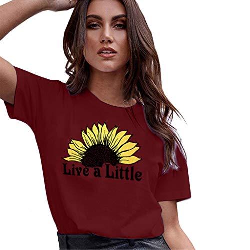 (Aunimeifly Summer Woman's Stylish Tee Ladies Rise and Shine Sunflower Graphic Round Neck Short Sleeve T-Shirt )
